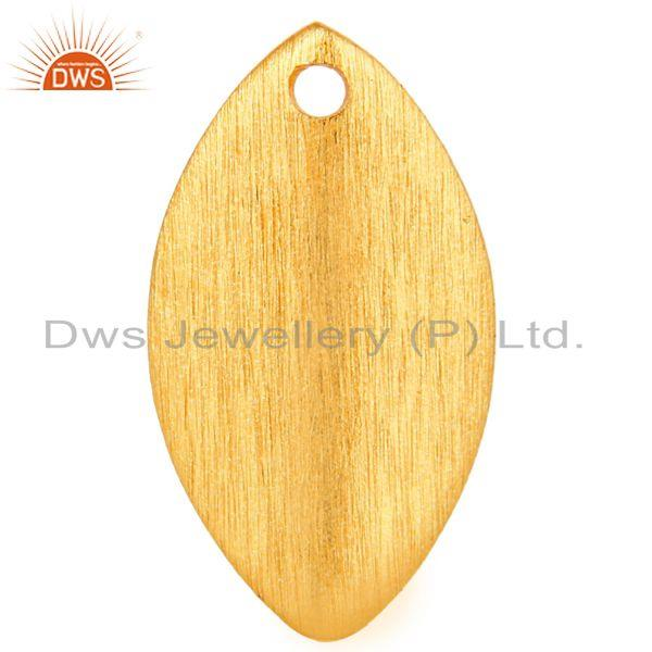 14K Yellow Gold Plated Brass Matte Finish Teardrop Finding Jewelry