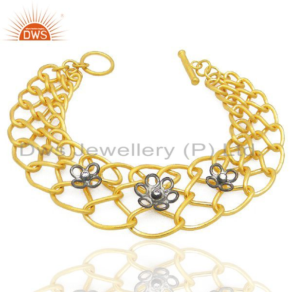 18K Yellow Gold Plated Brass Cubic Zirconia Link Chain Fashion Bracelet