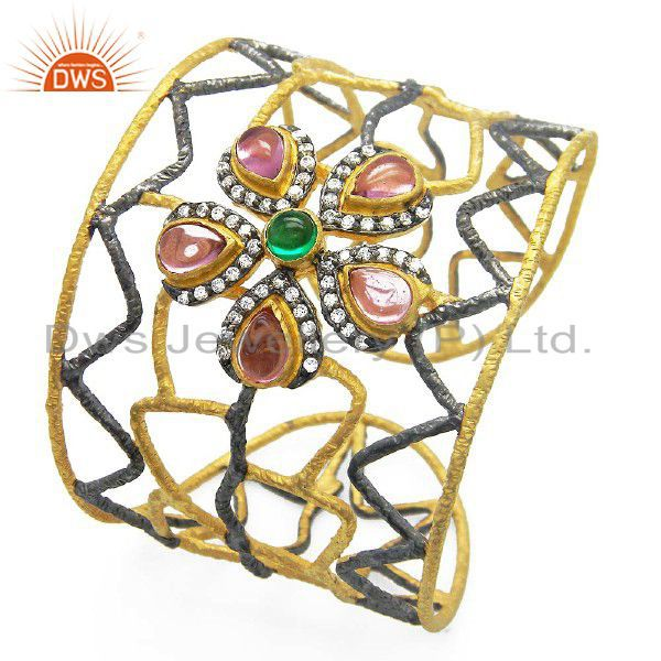 18K Yellow Gold Plated Brass Hydro Pink Quartz Hammered Wire Cuff Bracelet