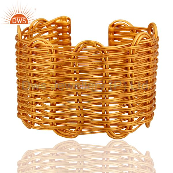 18k yellow gold plated over brass handcrafted wire weave cuff bracelet bangle