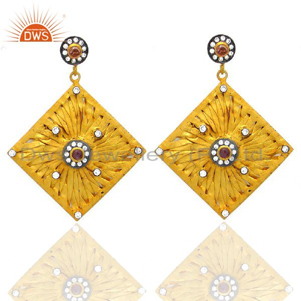 14K Yellow Gold Plated Sterling Silver Pink Tourmaline And CZ Dangle Earrings