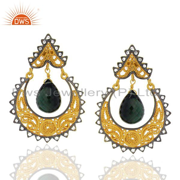 18K Yellow Gold Plated Sterling Silver Green Chalcedony And CZ Ethnic Earrings