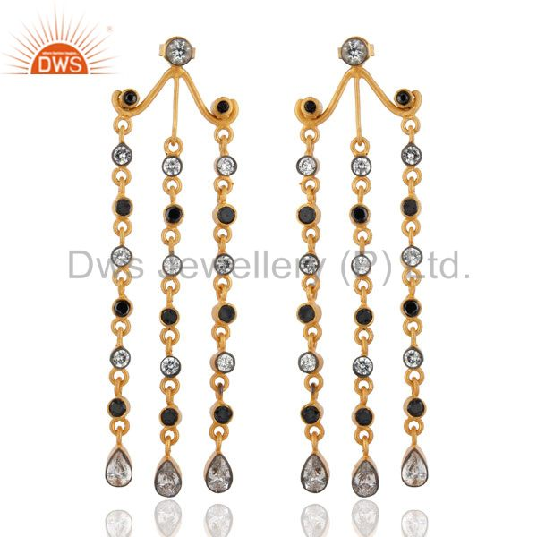 18k Gold Plated Cubic Zircon Earrings Black & White Elegant Chandelier Earrings