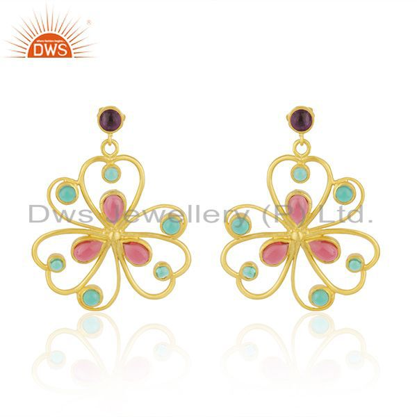 18-karat Yellow Gold Plated Glass Pink & Hydro Green Drop Designer Earrings