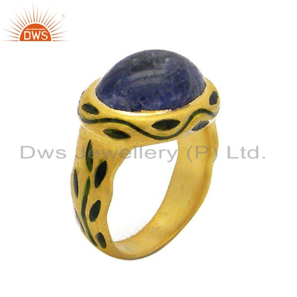 18K Yellow  Gold Plated Sterling Silver Sodalite Gemstone Ring With Enamel