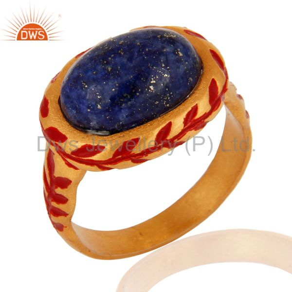 Designer Oval Shape Sodalite Gemstone Yellow Gold Plated Ring With Red Enamel