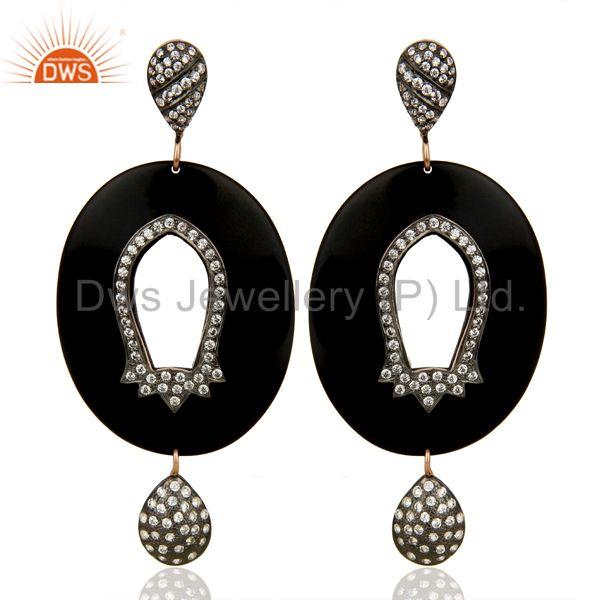 Wholesale Brass White Zircon Bakelite Fashion Earrings Manufacturer