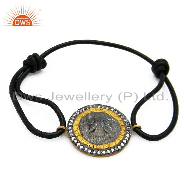 Black Rhodium Plated Brass Cubic Zirconia Antique Look Charm Macrame Bracelet