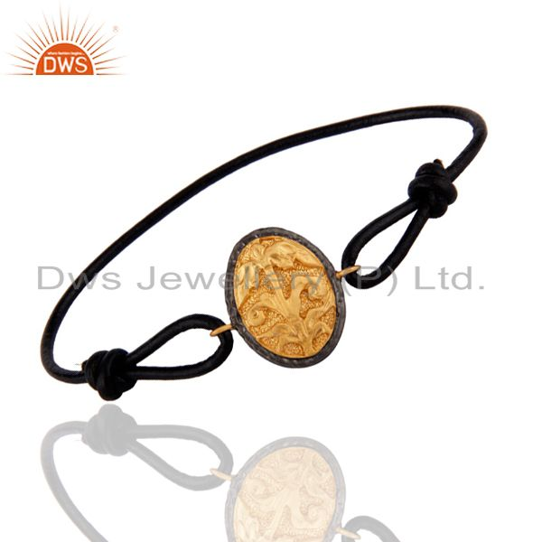 Flower Finding 18K Gold Plated Black Leather Adjustable Bracelet For Teens Boys