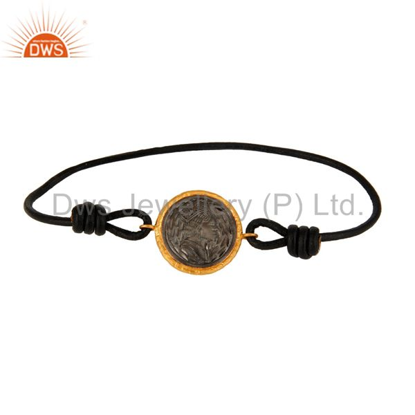 Black Rhodium Plated Brass Charms Macrame Bracelet Jewelry