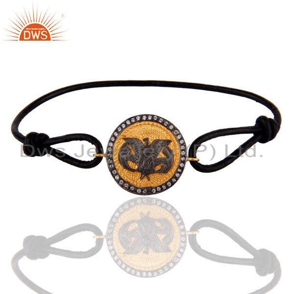 Vintage Inspired Fashion Eagle Birds Symbolism 18k Gold Plated leather Bracelet