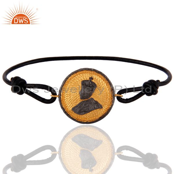 18k Gold Plated King Face Antique Jewelry Classic Leather Unisex Fashion Bracel