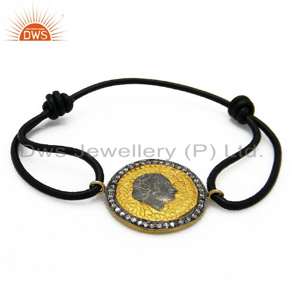 18K Yellow Gold Plated Sterling Silver CZ Vintage Charm Black Macrame Bracelet