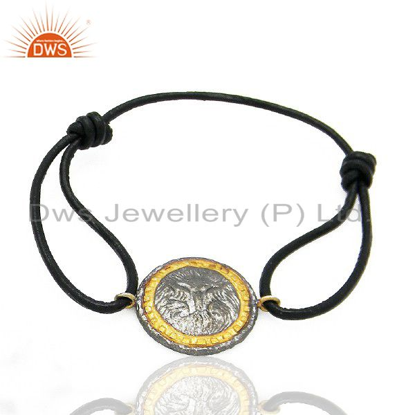 Oxidized And 22K Yellow Gold Plated Vintage Charms Fashion Macrame Bracelet