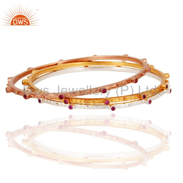 Ruby red cubic zirconia 14 karat gold sleek fashion women bangles