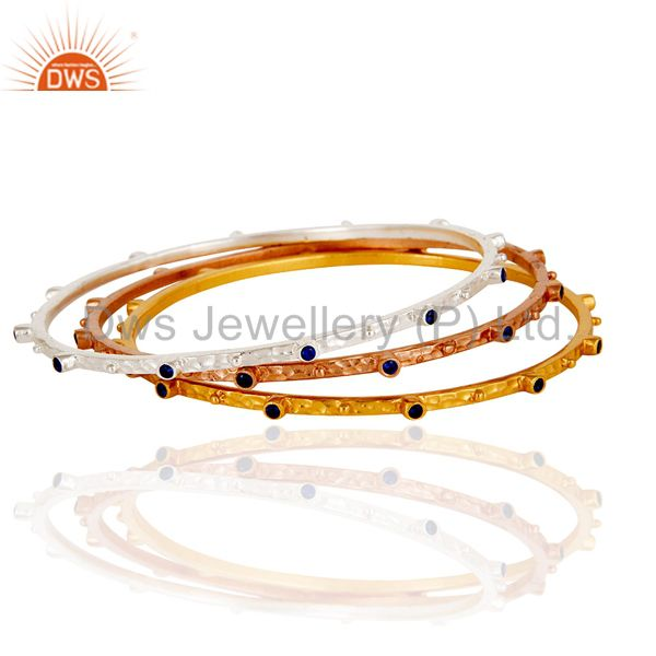 Rose gold yellow gold silver over zircon bangle fashion jewelry set