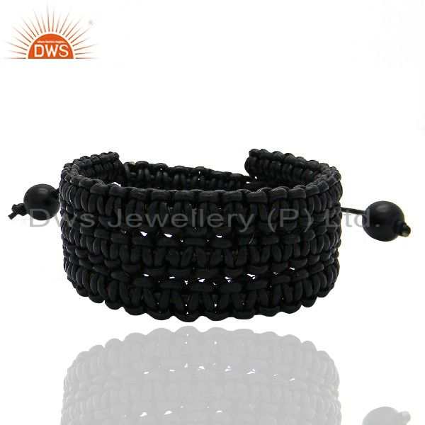 Handmade Black Leather Woven Pattern Womens Fashion Bracelet