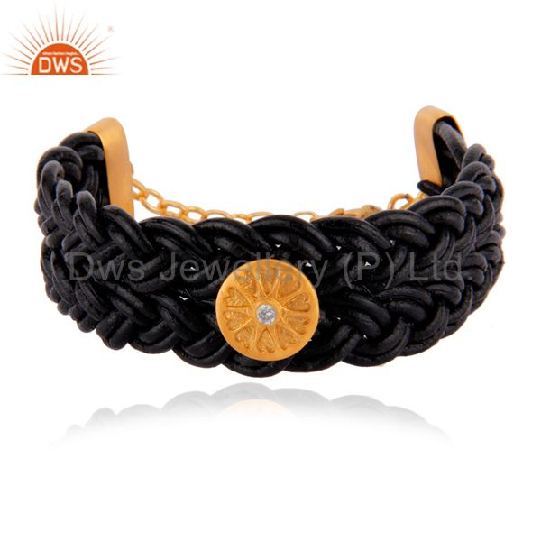 18k Gold Plated White Zircon Black Leather Wrap Wide Leather Bangle Bracelet