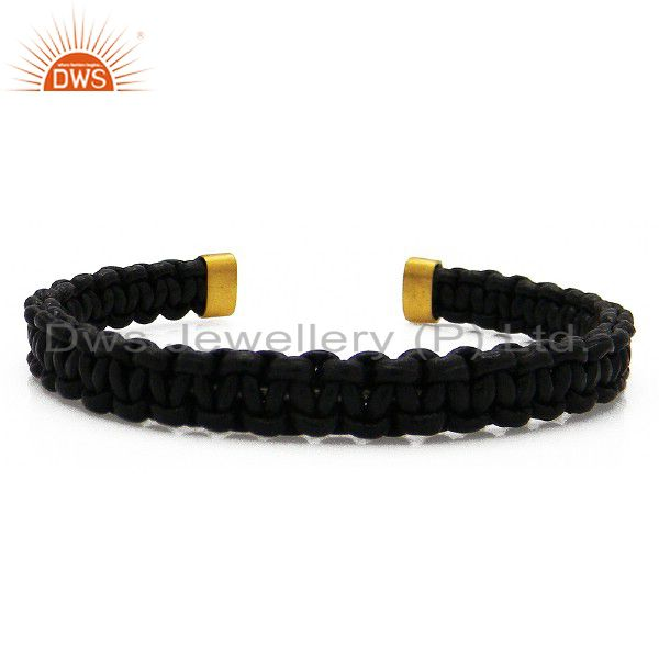 18K Yellow Gold Plated Black Leather Woven Pattern Macrame Cuff Bracelet