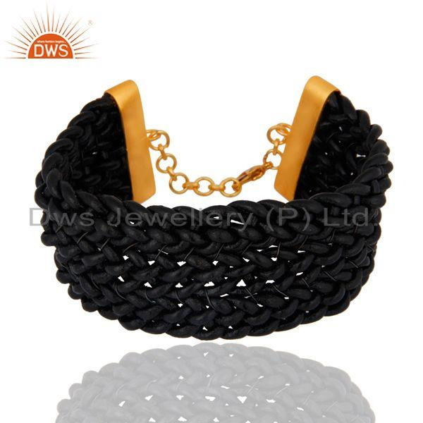 18k yellow gold plated clasp with genuine braided black leather bracelet