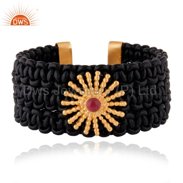Gold plated handmade black leather wrap fashion cuff