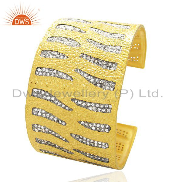 18K Yellow Gold Plated Brass Cubic Zirconia Womens Fashion Cuff Bracelet