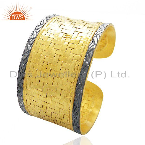 22K Yellow Gold Plated Brass Woven Pattern Wide Fashion Cuff Bracelet