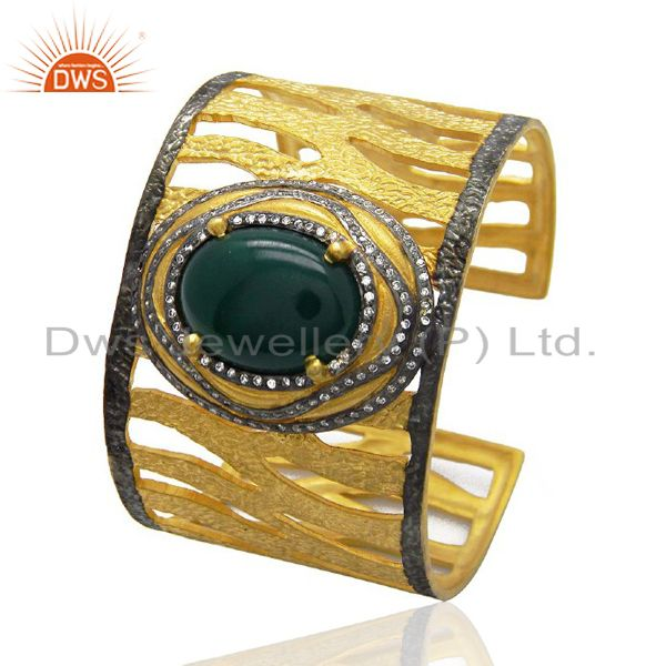 Gold Plated Green Onyx And CZ Textured Cuff