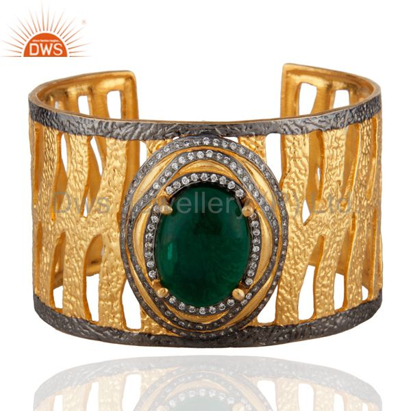 22k yellow gold vermeil brass green glass and cz hammered wide cuff bracelet