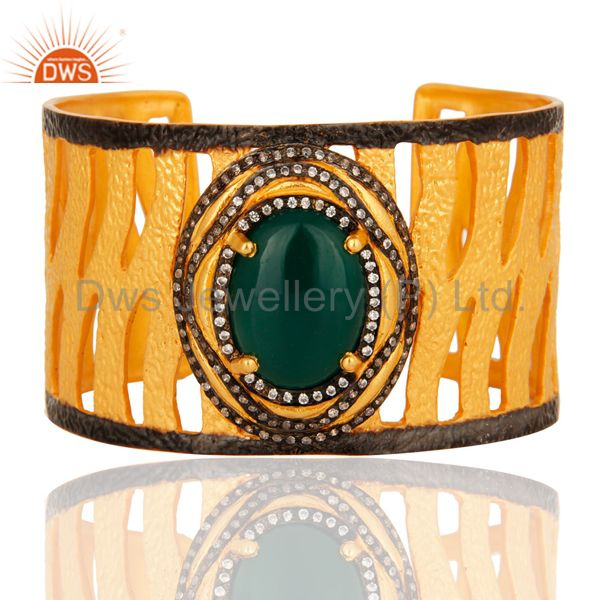 Handcrafted textured 18k yellow gold vermeil green onyx wide cuff bracelet