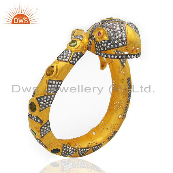 22K Yellow Gold Plated Brass CZ And Crystal Polki Antique Style Snake Bangle