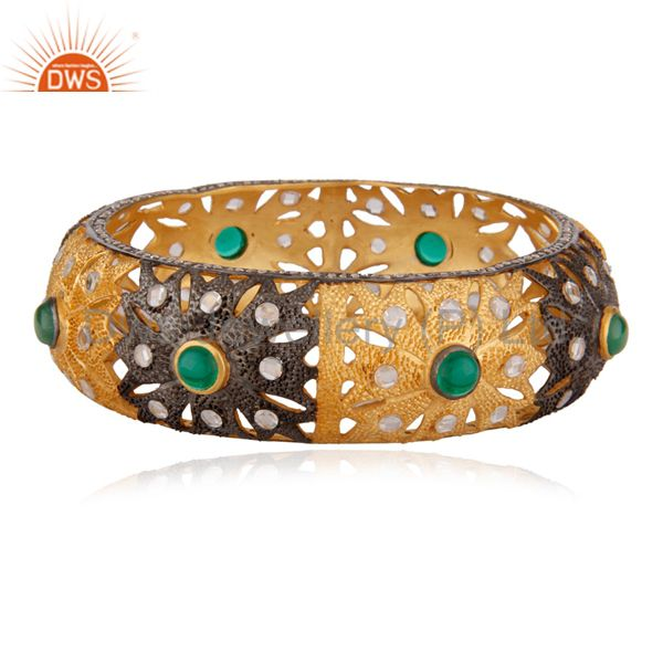 Green emerald hydro quartz 18k gold crystal zircon fashion bangle