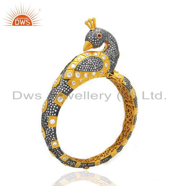 22k yellow gold brass cz crystal polki antique style peacock bangle