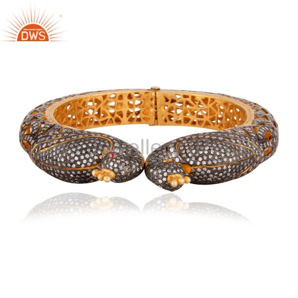 22K Yellow Gold Plated Sterling Silver CZ Peacock Design Vintage Style Bangle
