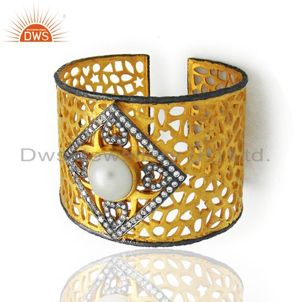 22K Yellow Gold Plated Brass Filigree Wide Cuff Bracelet With Pearl And CZ
