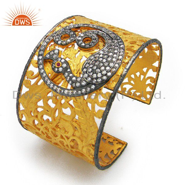 22K Yellow Gold Plated Brass CZ Peacock Design Filigree Wide Cuff Bracelet