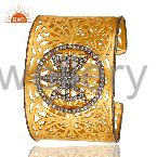 22K Yellow Gold Plated Filigree Butterfly Hammered Wide Cuff Bracelet With CZ