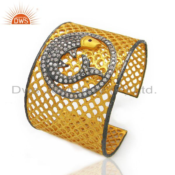 22K Yellow Gold Plated Brass CZ Dolphin Design Filigree Wide Cuff Bracelet