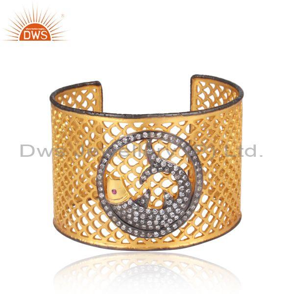 Red zircon and cz gold and black plated silver netted cuff