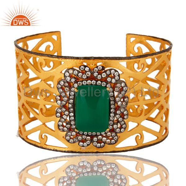 18K Yellow Gold Plated Green Onyx And CZ Designer Wide Cuff Bracelet