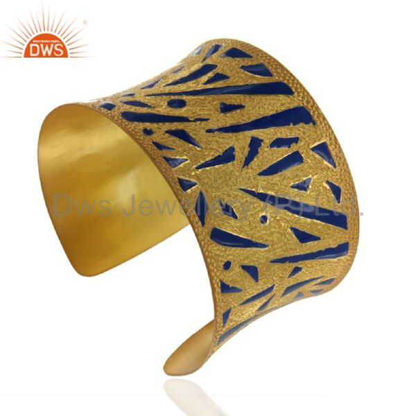 22k yellow gold plated brass hammered wide cuff bracelet bangle with blue enamel