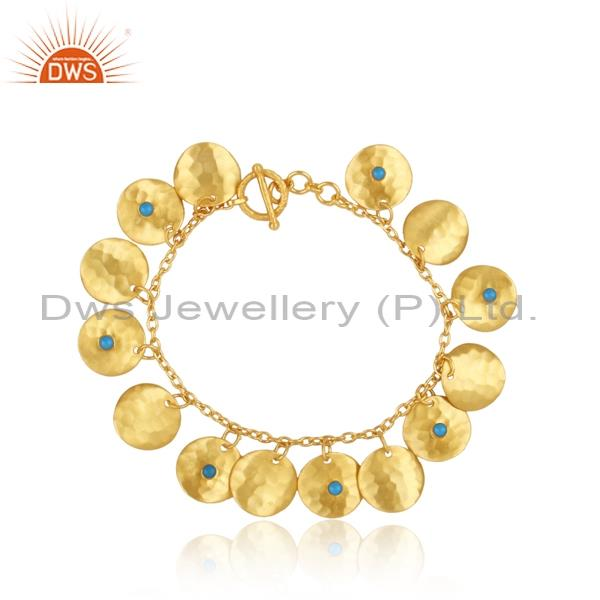 Brass Gold Bracelet Attached With Cultured Turquoise