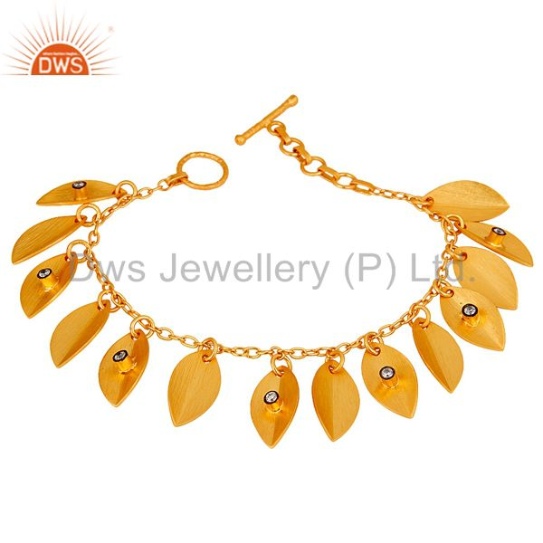Traditional Fashion Design White Zirconia Brass Bracelet With 18k Gold Plated