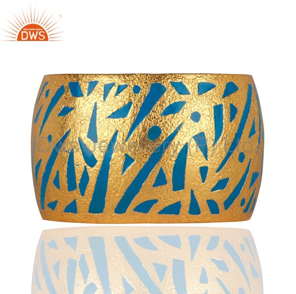 Designer Inspired Enamel Hand-Painted Cuff Bangle in 24k Gold Plated Jewellery