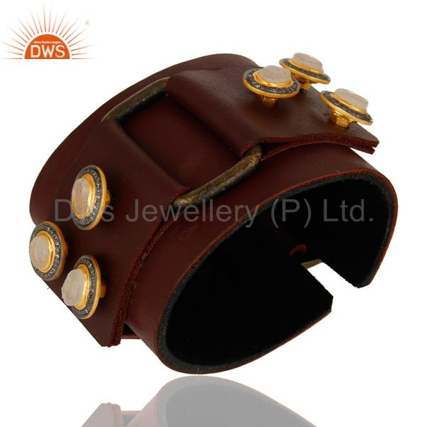 Crystal and Zircon 18K Gold Plated Leather Bracelet