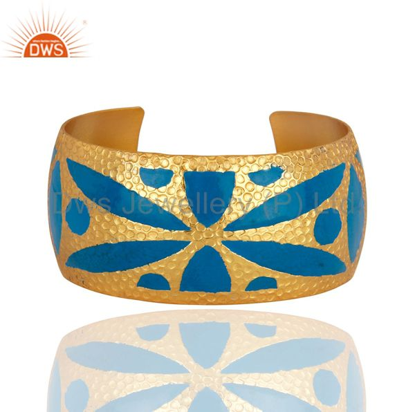 Handmade Hammered 22k Gold Plated Wide Cuff Bracelet Bangle With Enamel Jewelry