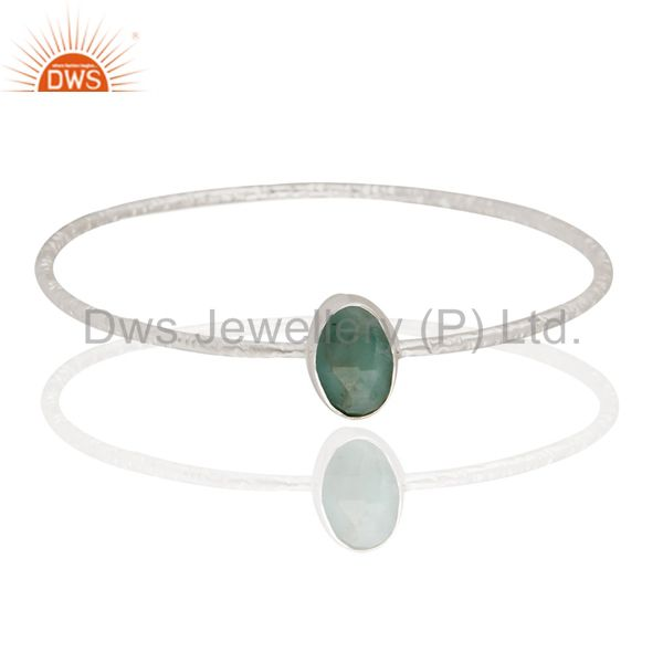 Handmade Solid Sterling Silver Natural Emerald Gemstone Stackable Bangle