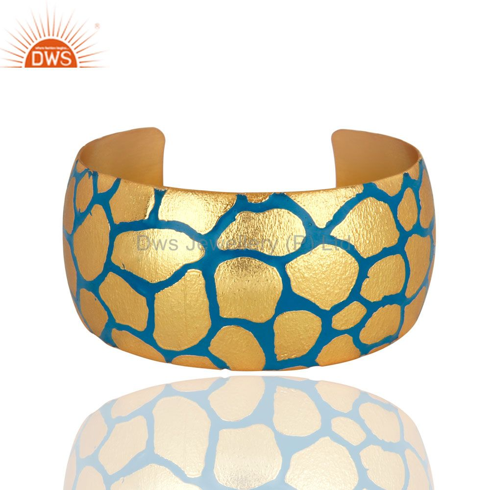 Women 18K Yellow Gold Plated Bridal Wide Cuff Bangle Bracelets With Enamel Paint