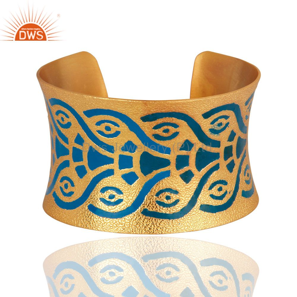 22-Karat Yellow Gold Plated Indian Enamel Designer Cuff Bracelet Bangle