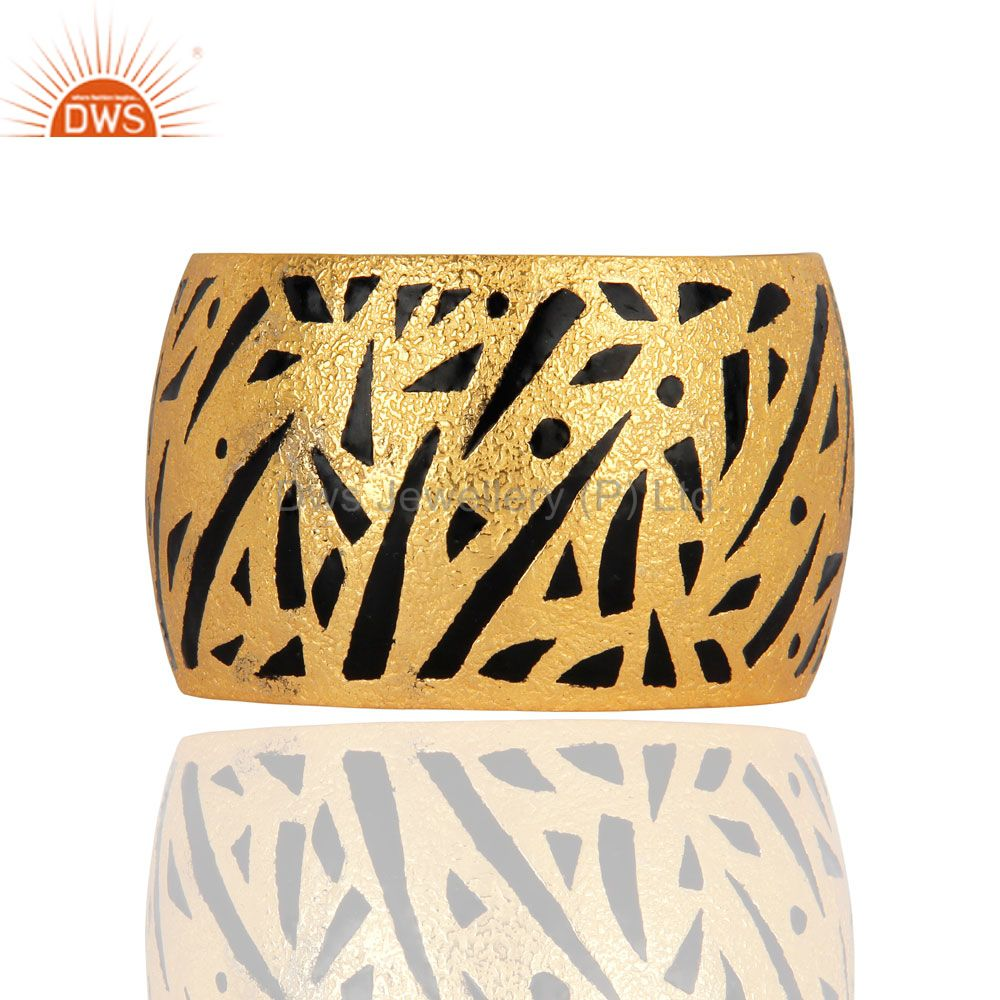 22K Yellow Gold Plated Brass Matte Finish Wide Bangle Cuff Bracelet With Enamel